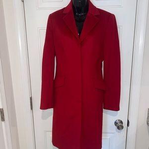 Adrienne Vittadini red pea coat Euc size 10